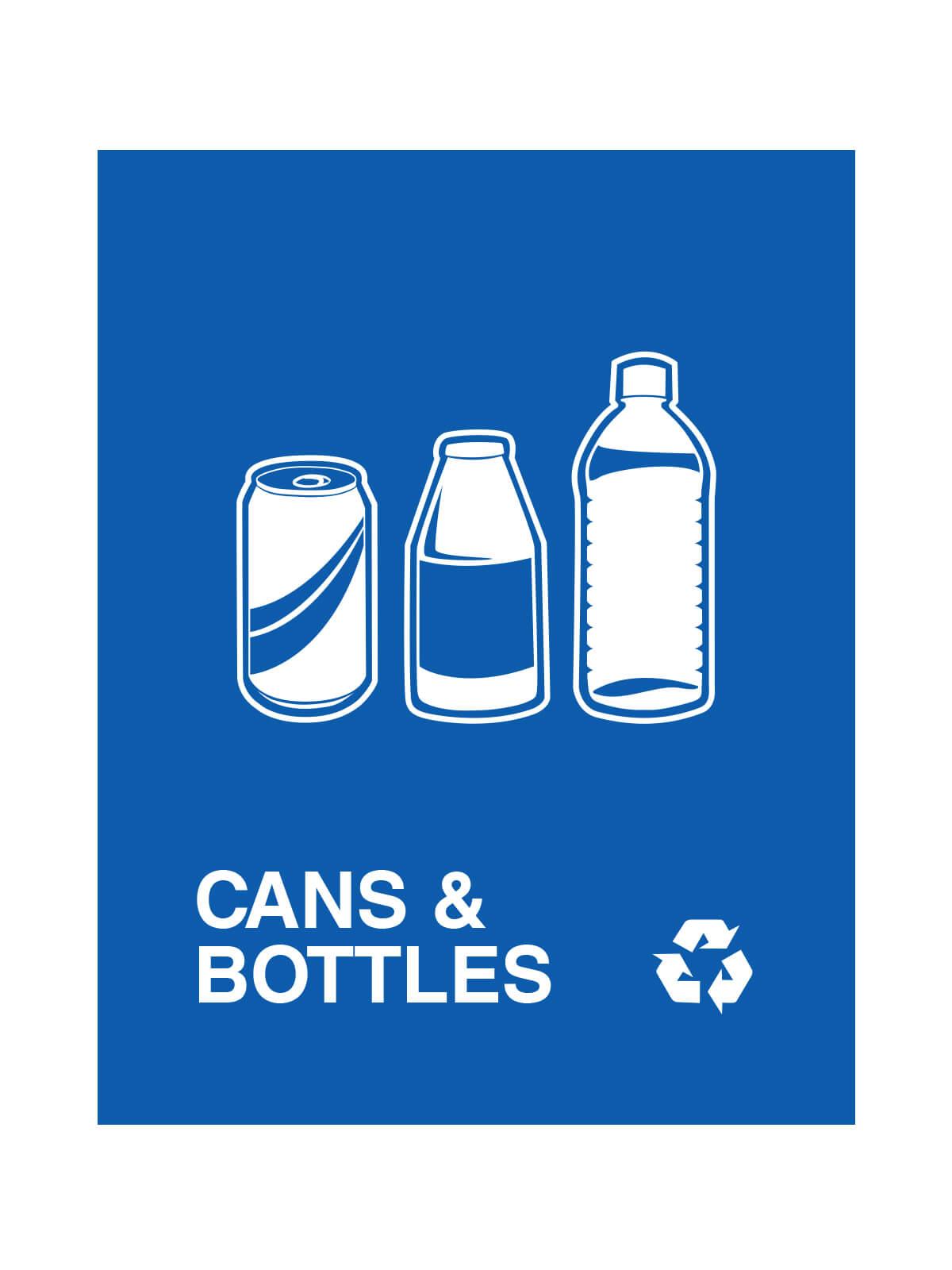 WASTE WATCHER - Sign - Cans & Bottles - Royal Blue