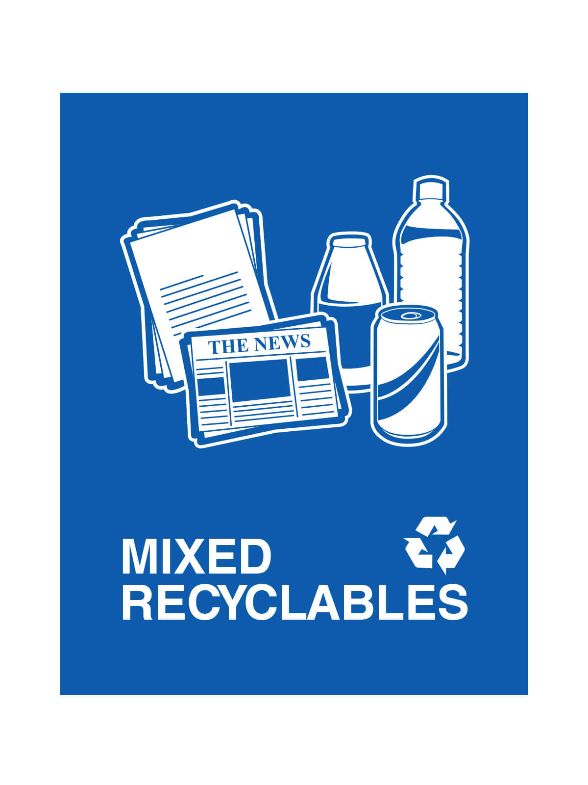 WASTE WATCHER - Sign - Mixed Recyclables - Royal Blue