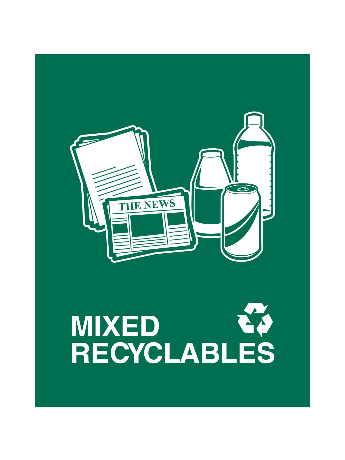 WASTE WATCHER - Sign - Mixed Recyclables - Dark Green