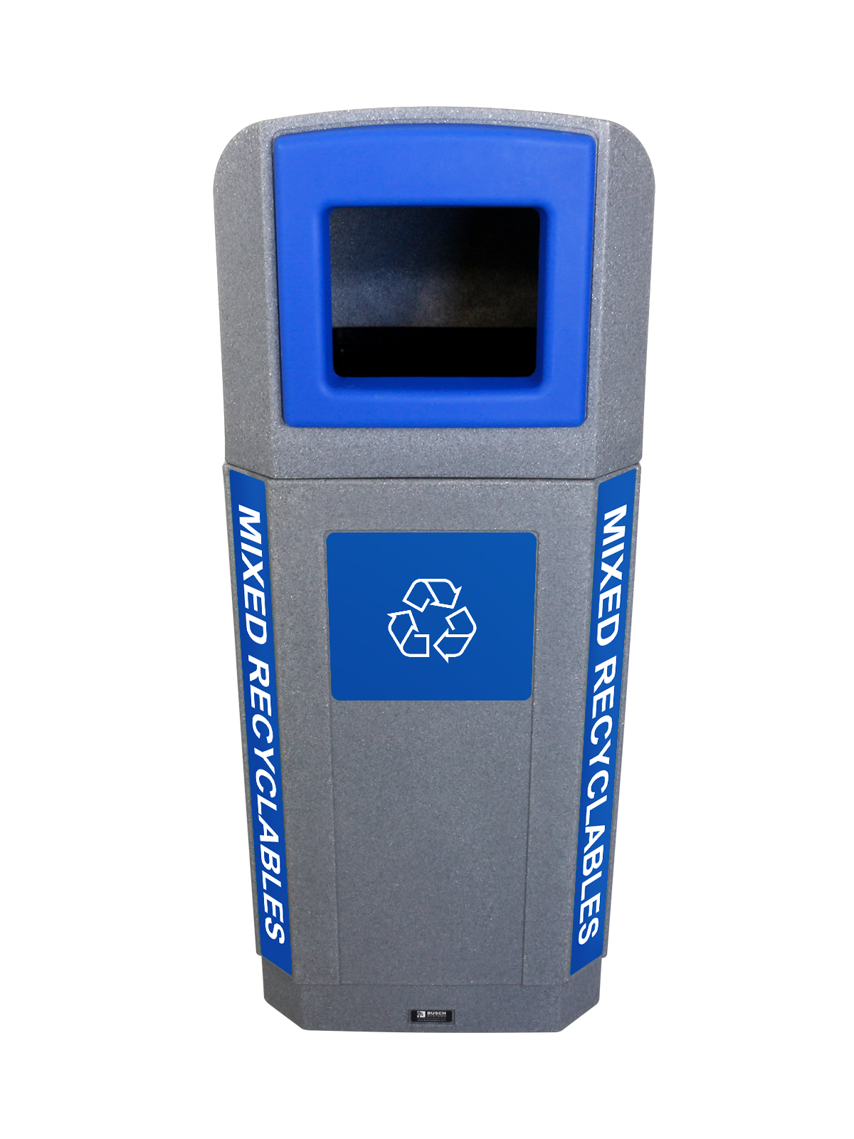 OCTO - Single - Outdoor - Mixed Recyclables  - Full - Greystone-Blue