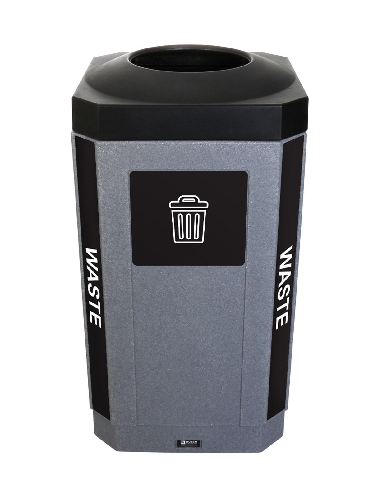 OCTO - Single - Indoor - Waste - Full - Greystone-Black