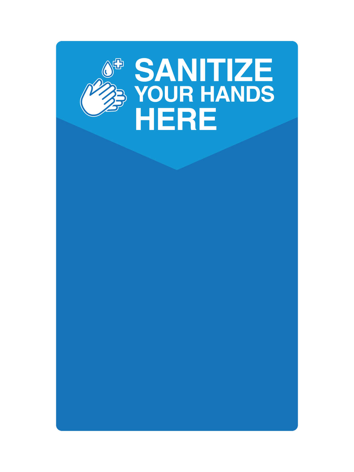 DISPENSER - Single - Label - Sanitize Your Hands Here - Blue-White title=