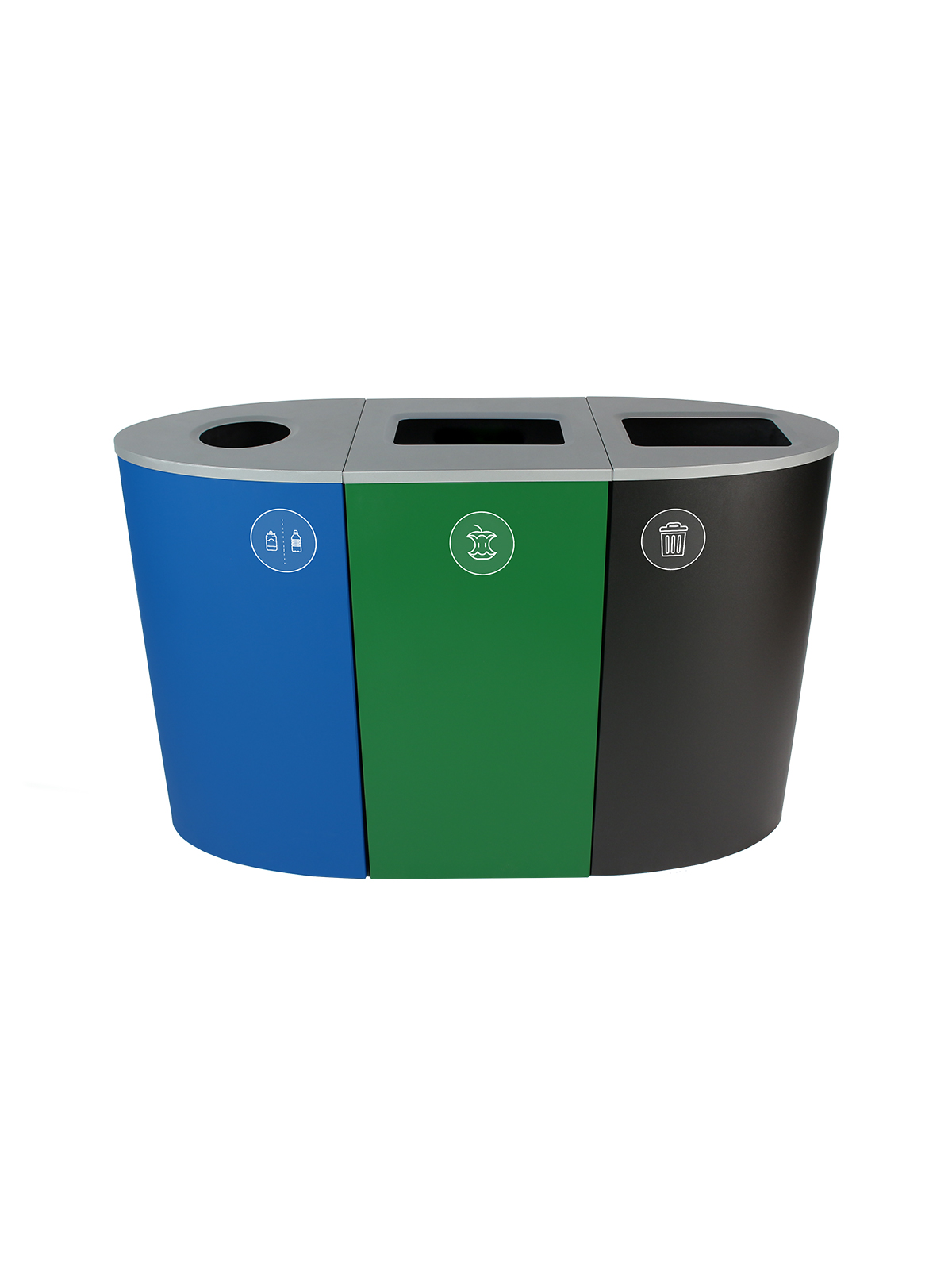 SPECTRUM - Triple - California Compliant - Cans & Bottles-Compost-Trash - Circle-Full - Blue-Green-Black