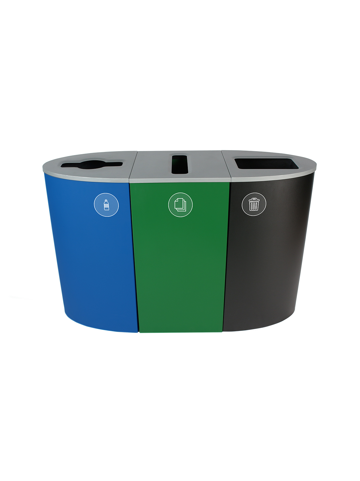 SPECTRUM - Triple - Oregon Compliant - Plastic Containers-Paper-Waste - Mixed-Slot-Full - Blue-Green-Black