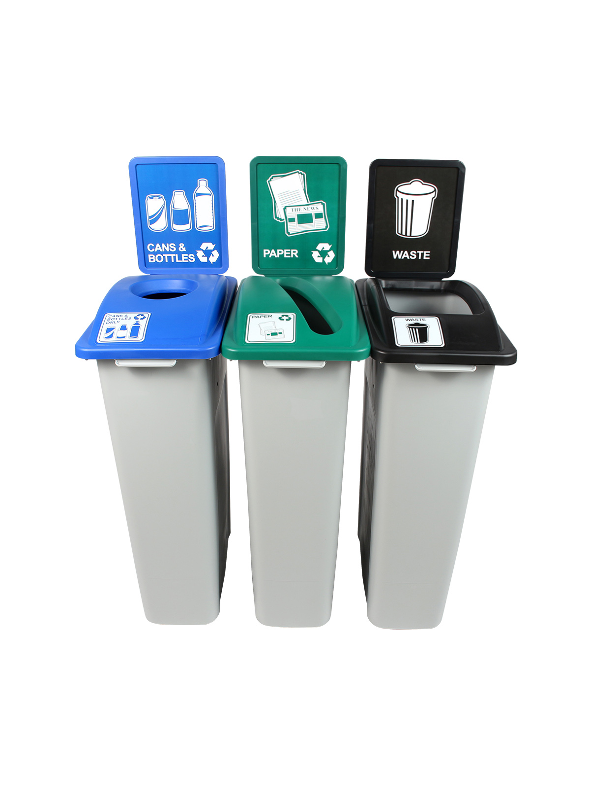 WASTE WATCHER - Triple - Pennsylvania Compliant - Cans & Bottles-Paper-Trash - Circle-Slot-Full - Grey-Blue-Green-Black title=