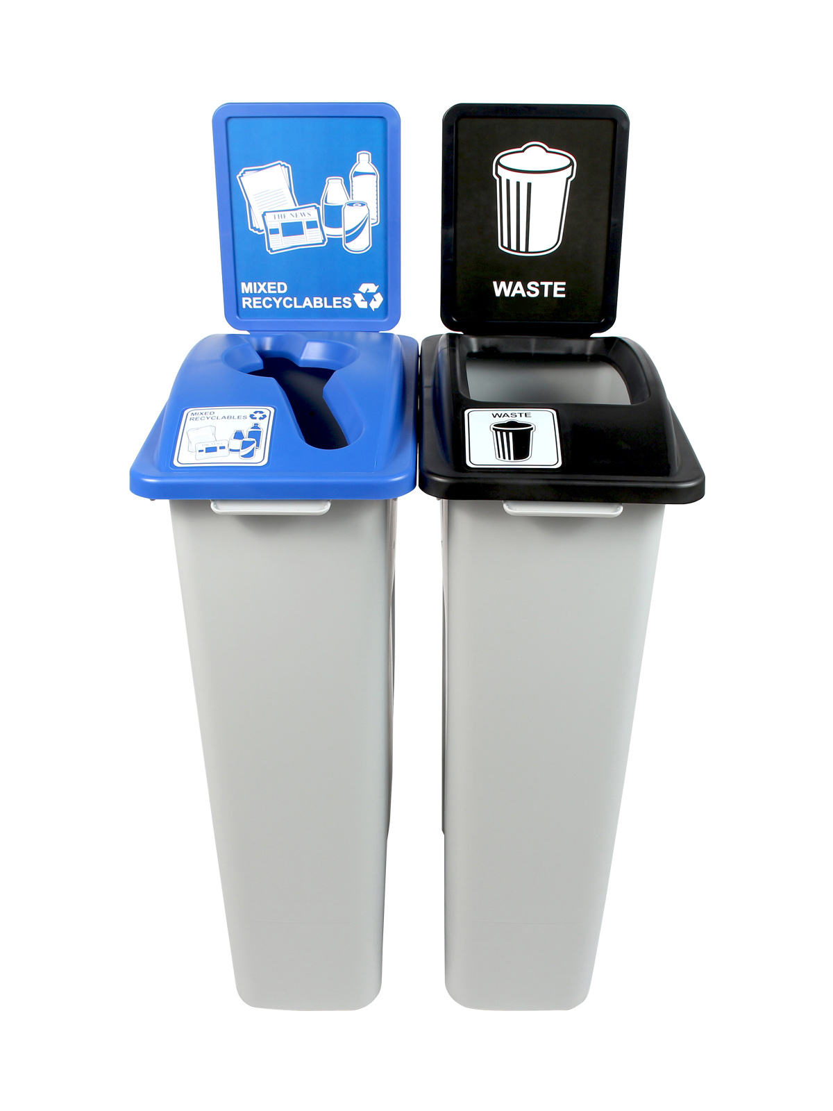 WASTE WATCHER - Double - Rhode Island Compliant - Mixed Recyclables-Waste - Mixed-Full - Grey-Blue-Black title=