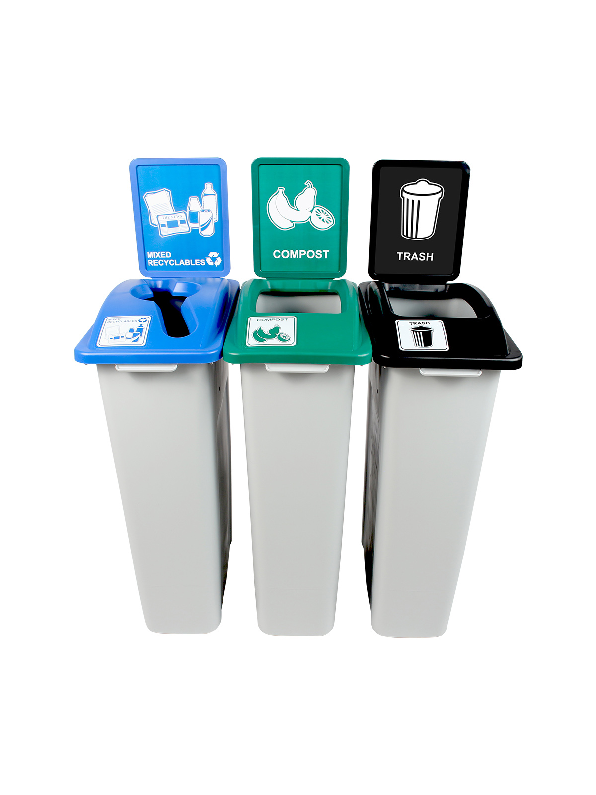 WASTE WATCHER - Triple - Wisconsin Compliant - Mixed Recyclables-Compost-Trash - Mixed-Full - Grey-Blue-Green-Black title=