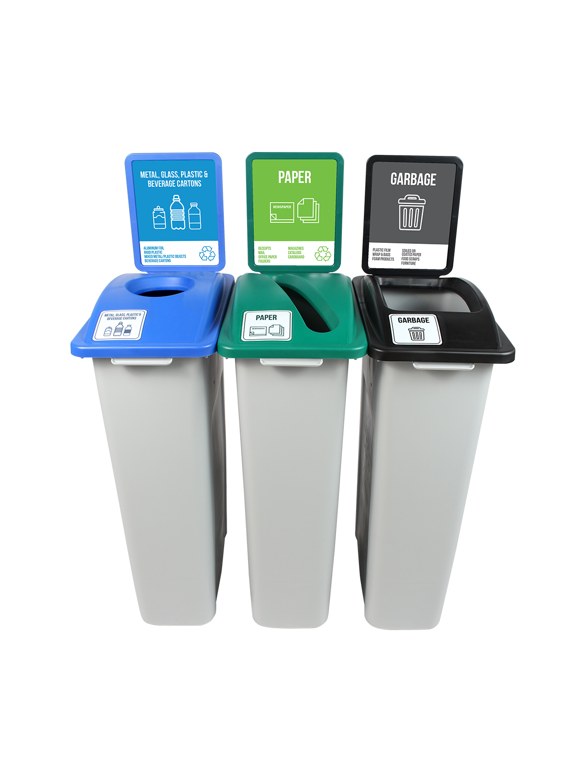 WASTE WATCHER - Triple - New York City Compliant - Metal, Glass, Plastic & Beverage Containers-Paper-Garbage - Circle-Slot-Full - Grey-Blue-Green-Black title=