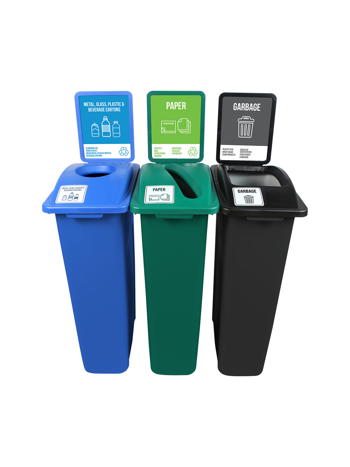 WASTE WATCHER - Triple - New York City Compliant - Metal, Glass, Plastic & Beverage Containers-Paper-Garbage - Circle-Slot-Full - Blue-Green-Black title=