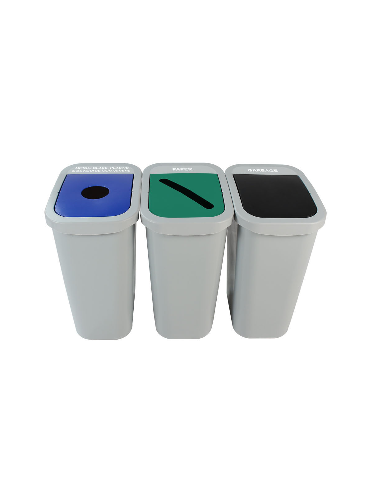 BILLI BOX - Triple - New York City Compliant - Metal, Glass, Plastic & Beverage Containers-Paper-Garbage - Circle-Slot-Swing - Grey-Blue-Green-Black title=