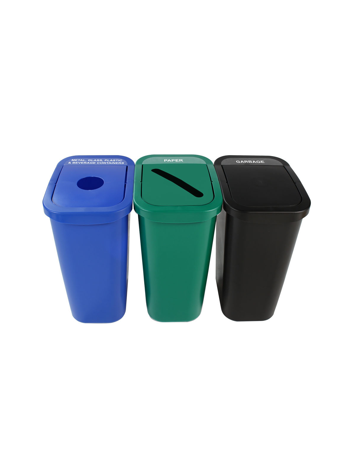 BILLI BOX - Triple - Nyc Compliant - Metal, Glass, Plastic & Beverage Containers-Paper-Garbage - Circle-Slot-Swing - Blue-Green-Black
