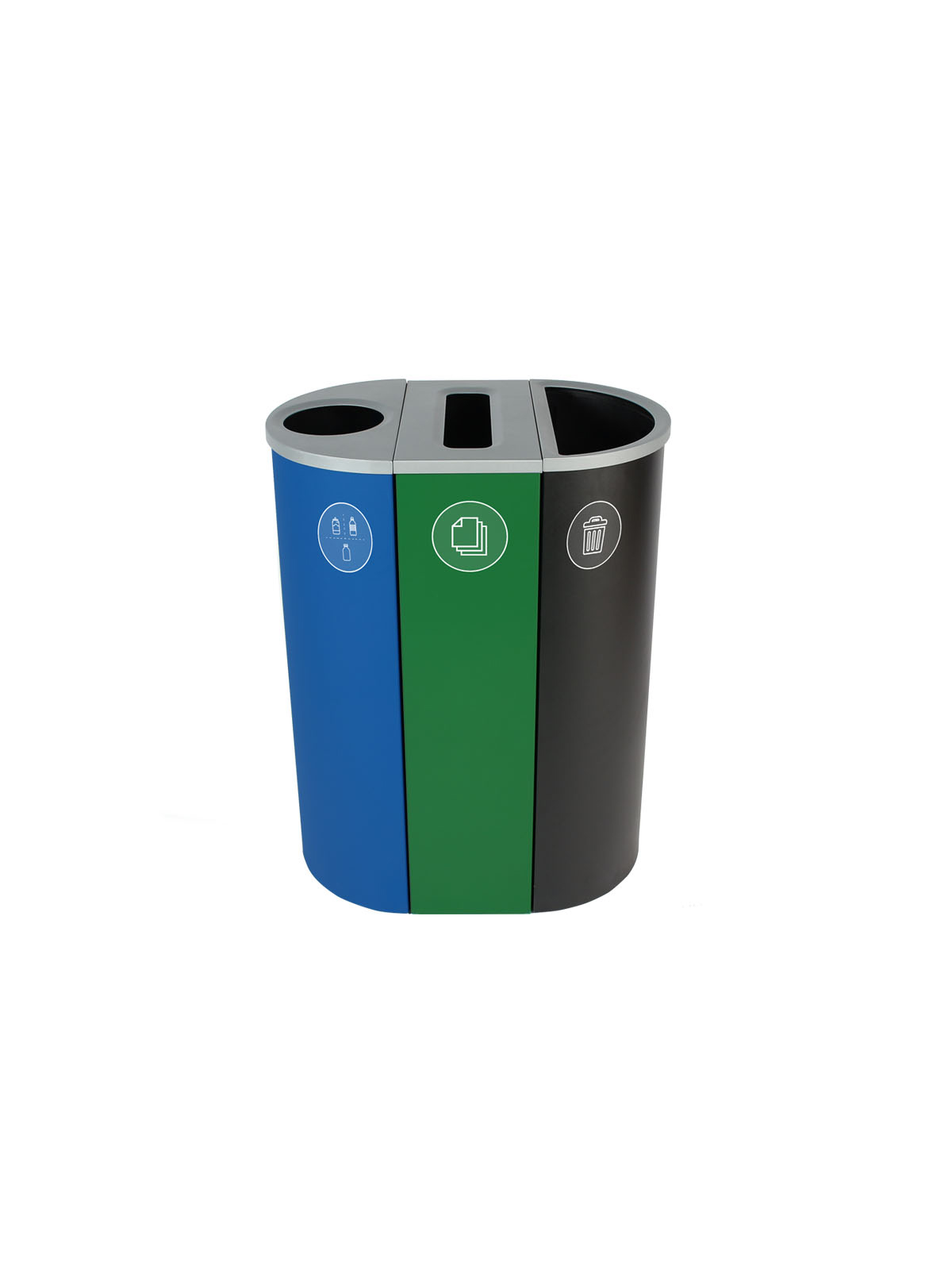 SPECTRUM - Triple - Nyc Compliant - Metal, Glass, Plastic & Beverage Containers-Paper-Garbage - Circle-Slot-Full - Blue-Green-Black
