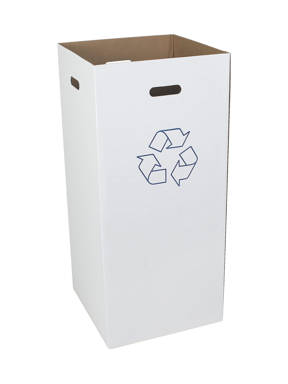 CORRUGATED RECYCLING BIN - 10 PACK - 28 GALLON - WHITE - MOBIUS LOOP