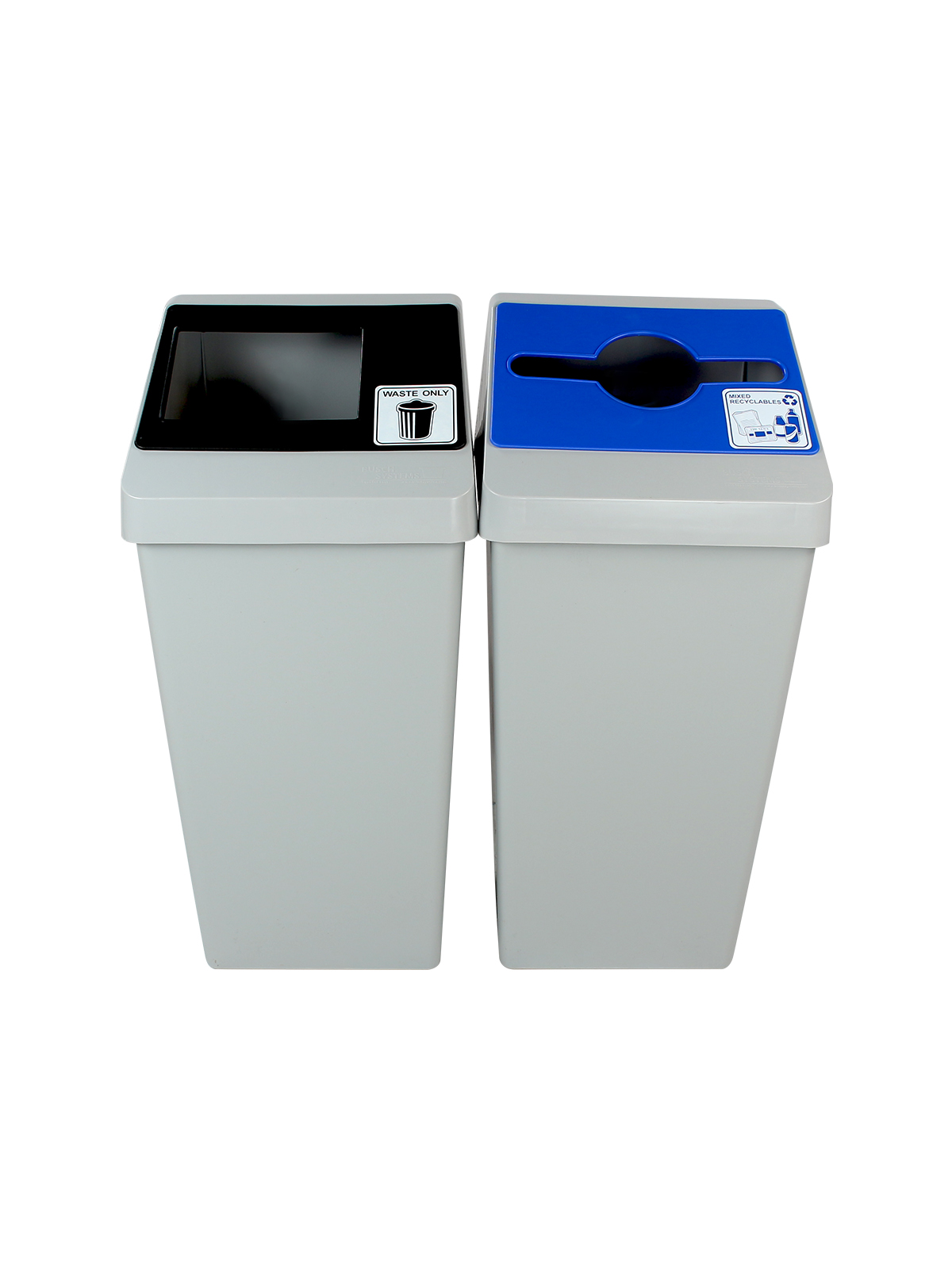 SMART SORT - DOUBLE - MIXED | FULL - GREY | BLUE |BLACK - MIXED RECYCLABLES | WASTE ONLY title=