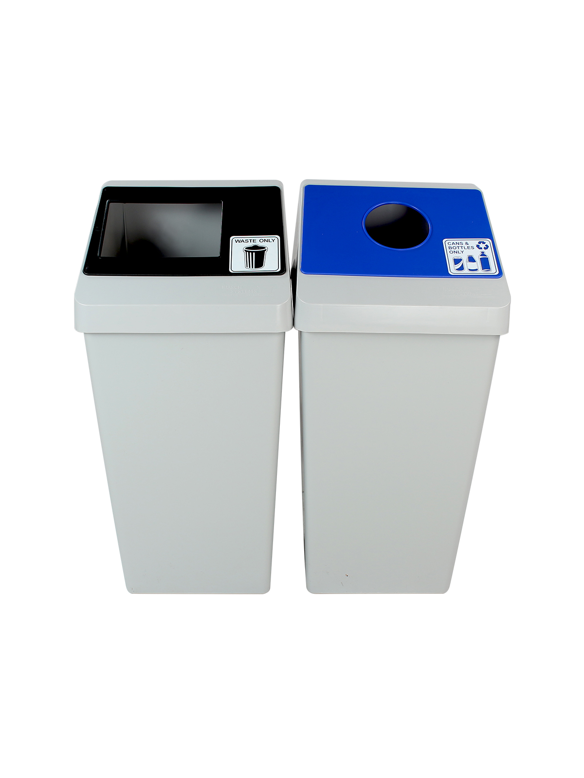 SMART SORT - DOUBLE - CIRCLE | FULL - GREY | BLUE |BLACK - CANS & BOTTLES ONLY | WASTE ONLY title=