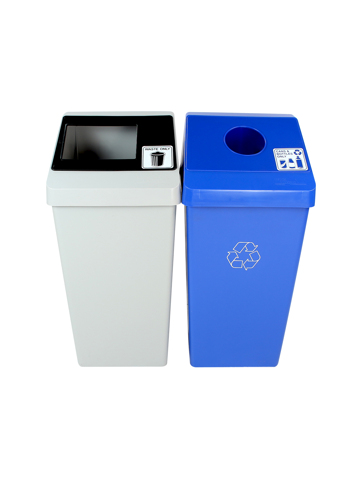 SMART SORT - DOUBLE - CIRCLE | FULL - BLUE | GREY | BLACK - CANS & BOTTLES ONLY | WASTE ONLY title=