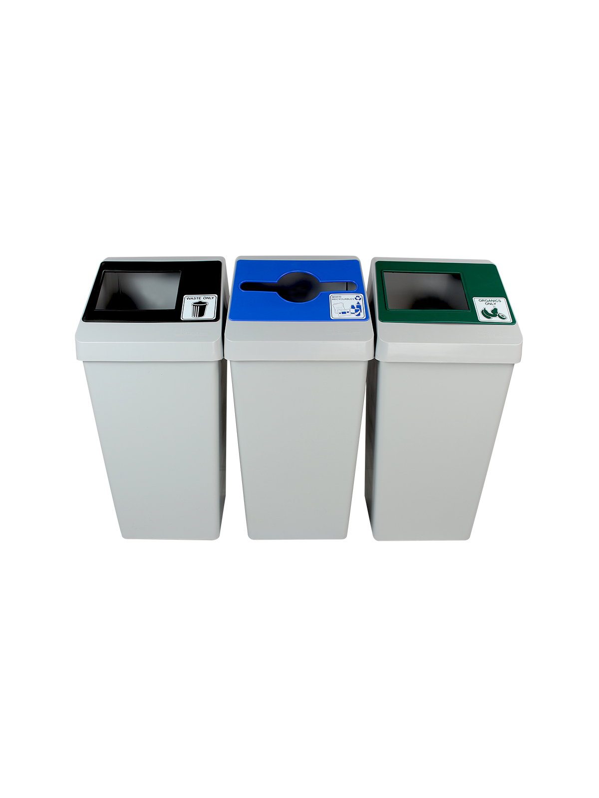 SMART SORT - Triple - Mixed Recyclables-Organics-Waste - Mixed-Full - Grey-Blue-Green-Black title=