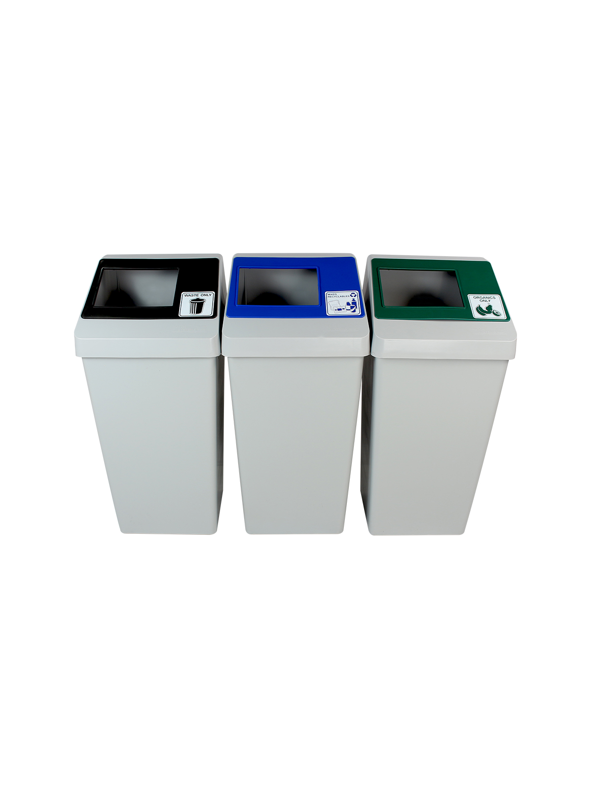 SMART SORT - Triple - Mixed Recyclables-Organics-Waste - Full - Grey-Blue-Green-Black