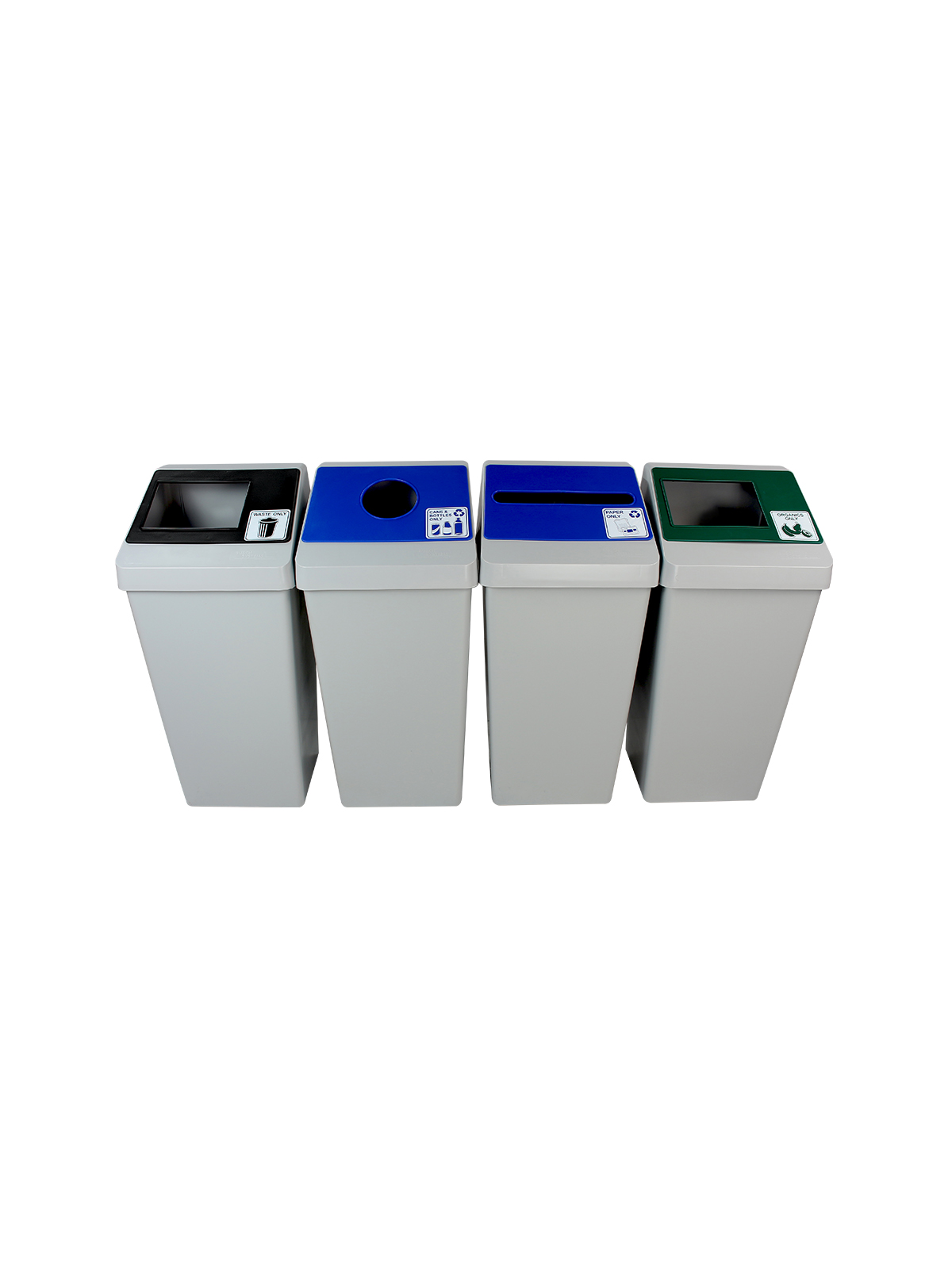 SMART SORT - Quad - Cans & Bottles-Paper-Organics-Waste - Circle-Slot-Full - Grey-Blue-Blue-Green-Black
