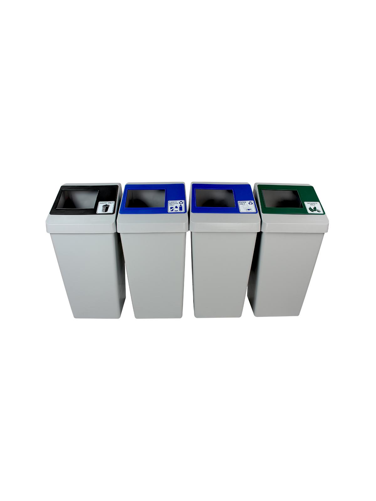 SMART SORT - Quad - Cans & Bottles-Paper-Organics-Waste - Full - Grey-Blue-Blue-Green-Black title=