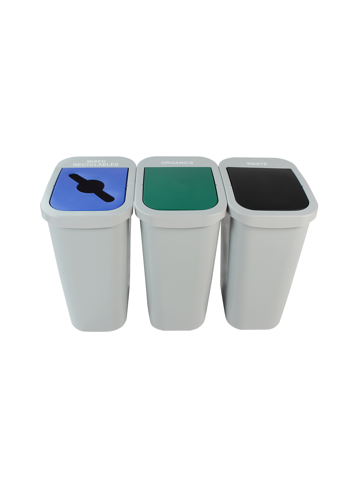BILLI BOX - Triple - 10 G - Mixed Recyclables-Organics-Waste - Mixed-Swing-Swing - Grey-Blue-Green-Black