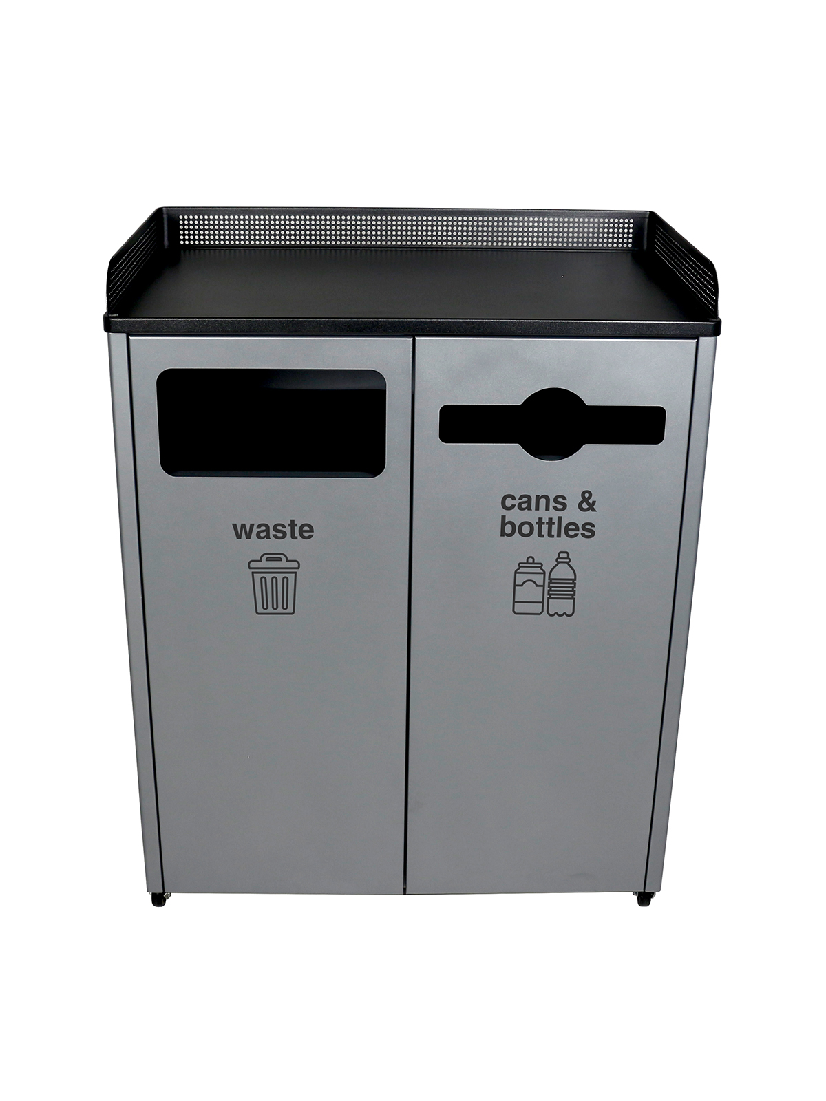 COURTSIDE - Double - Waste-Cans & Bottles - Full-Mixed - Grey-Black