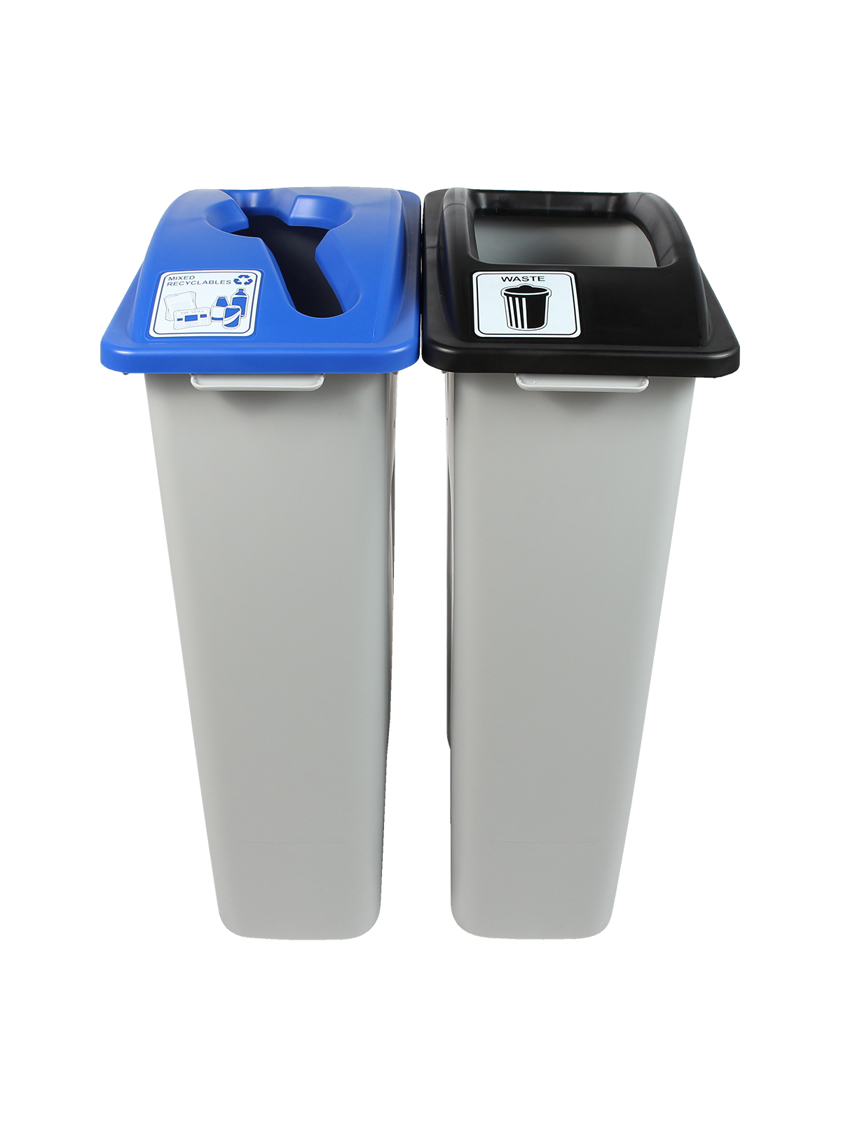 WASTE WATCHER - Double - Mixed Recyclables-Waste - Mixed-Full - Grey-Blue-Black