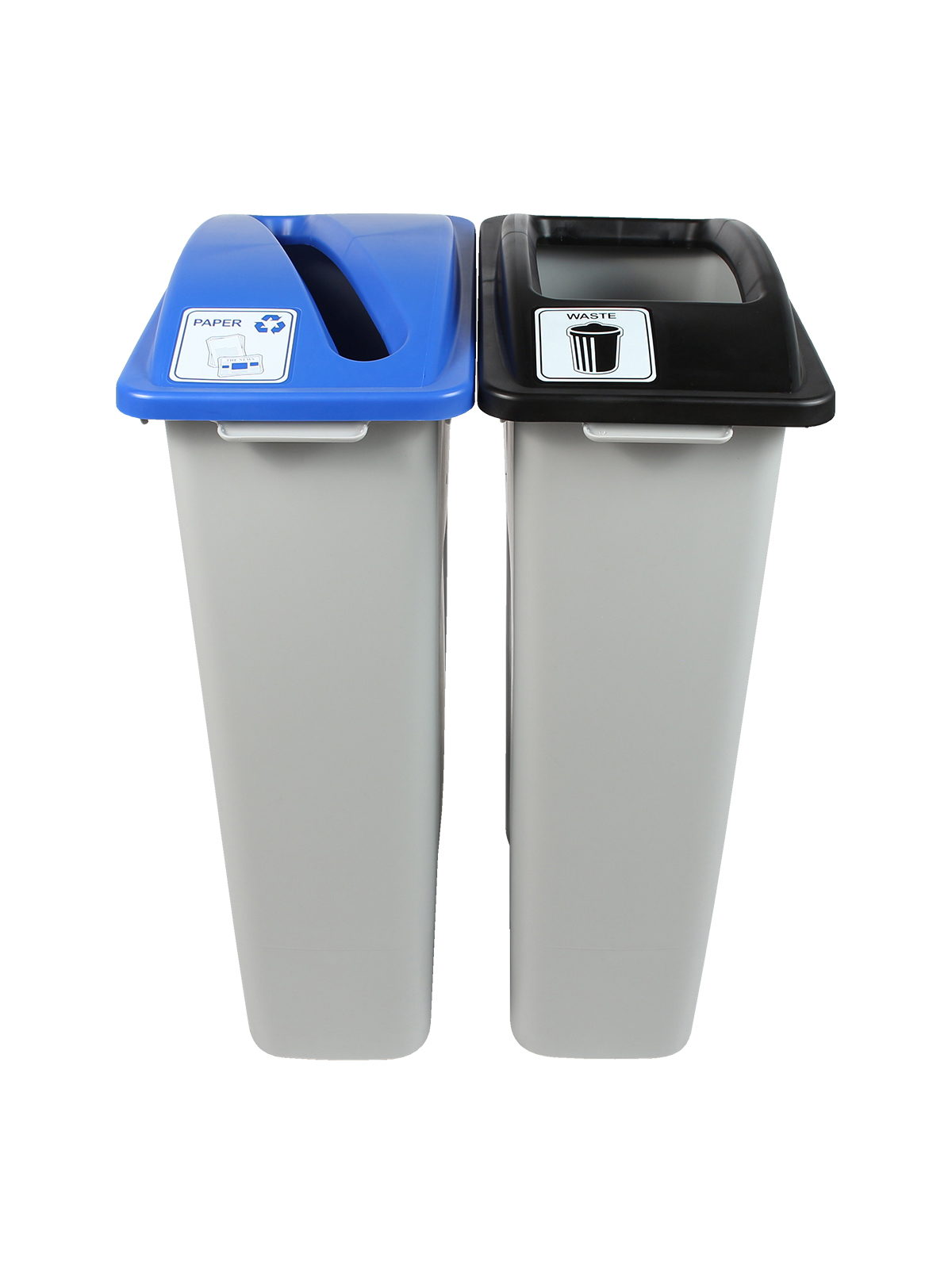 WASTE WATCHER - Double - Paper-Waste - Slot-Full - Grey-Blue-Black