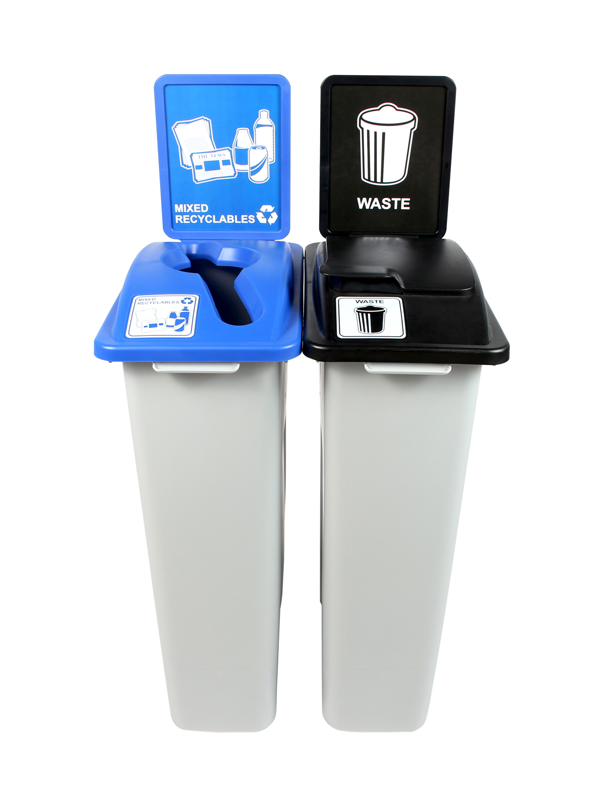 WASTE WATCHER - Double - Mixed Recyclables-Waste - Mixed-Solid Lift - Grey-Blue-Black