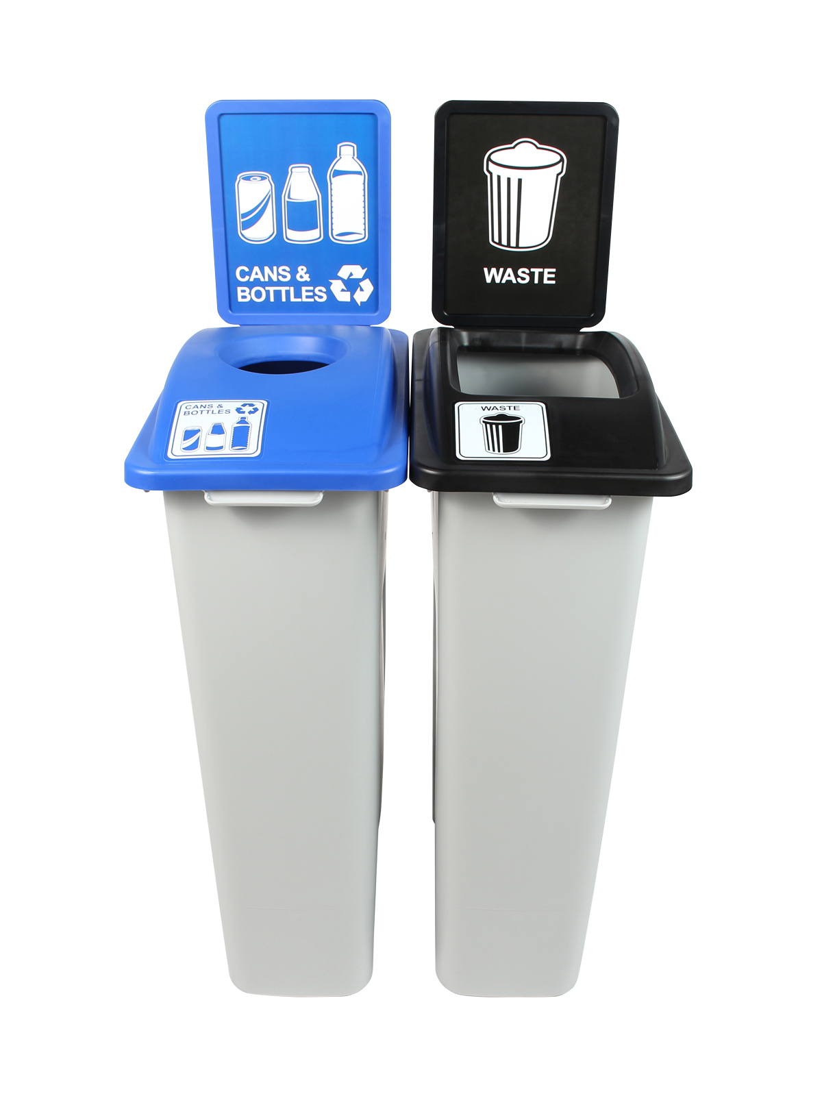 WASTE WATCHER - Double - Cans & Bottles-Waste - Circle-Full - Grey-Blue-Black