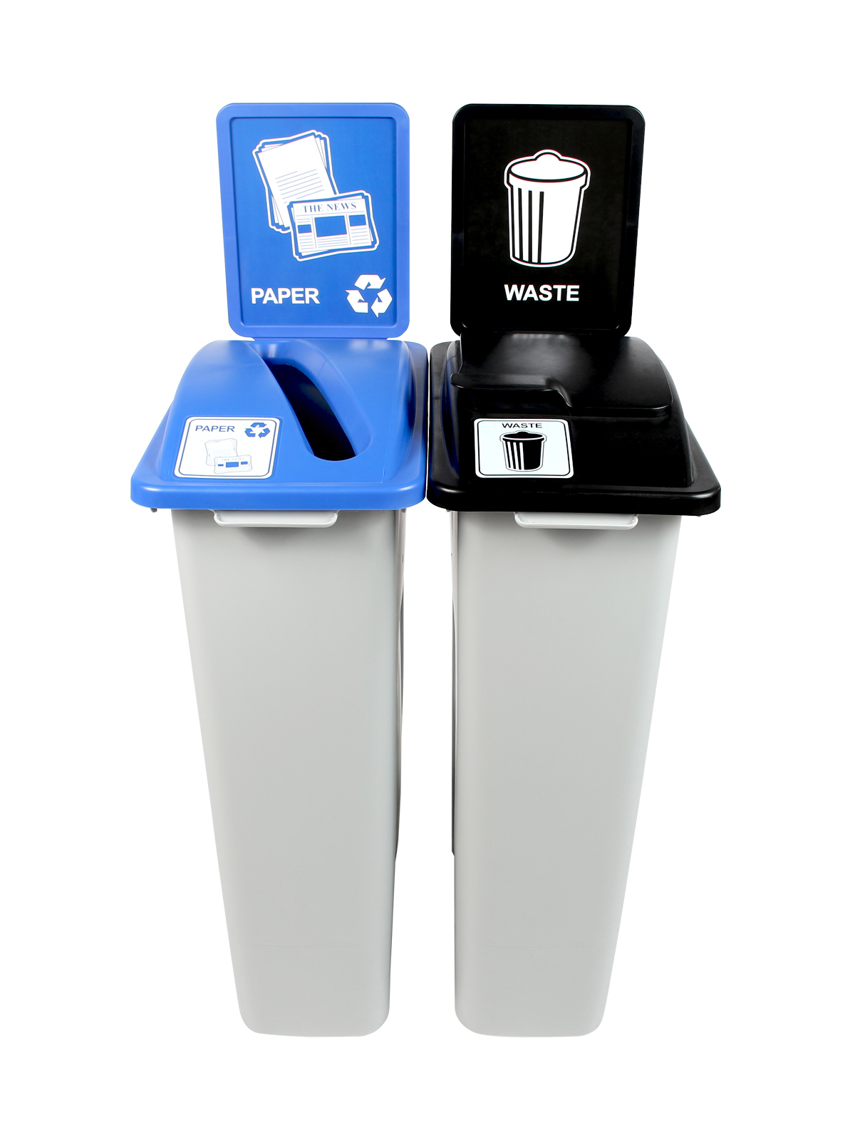 WASTE WATCHER - Double - Paper-Waste - Slot-Solid Lift - Grey-Blue-Black