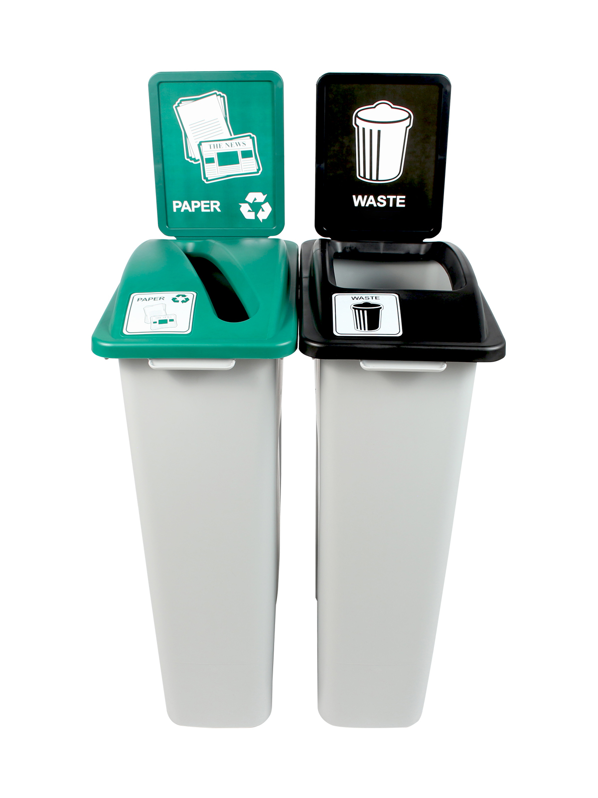 WASTE WATCHER - Double - Paper-Waste - Slot-Full - Grey-Green-Black