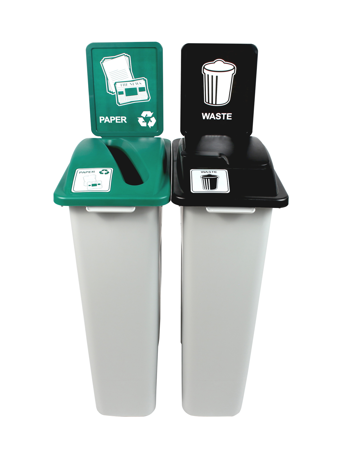 WASTE WATCHER - Double - Paper-Waste - Slot-Solid Lift - Grey-Green-Black