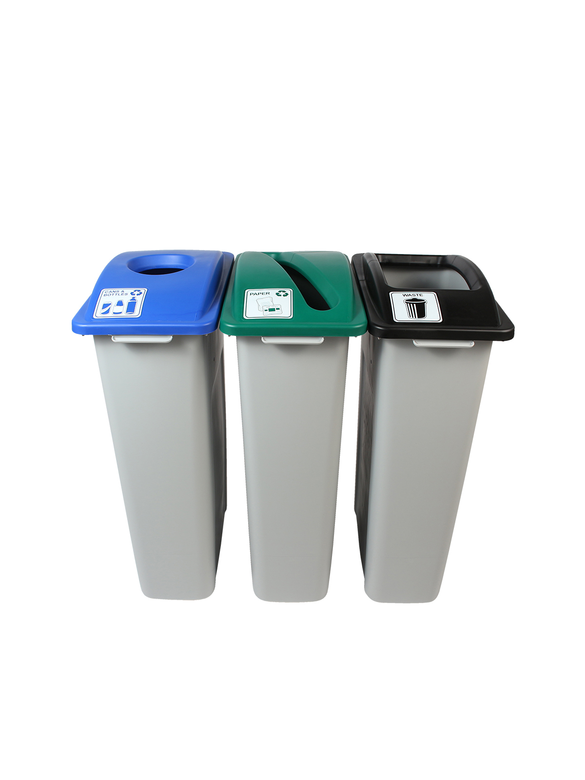 WASTE WATCHER - Triple - Cans & Bottles-Paper-Waste - Circle-Slot-Full - Grey-Blue-Green-Black