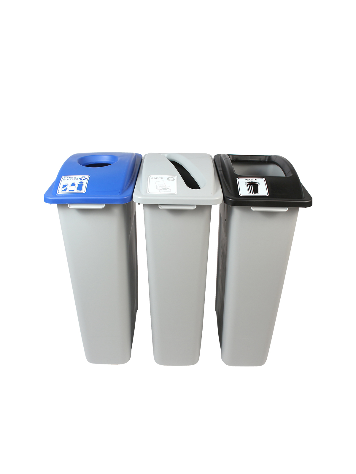 WASTE WATCHER - Triple - Cans & Bottles-Paper-Waste - Circle-Slot-Full - Grey-Blue-Grey-Black