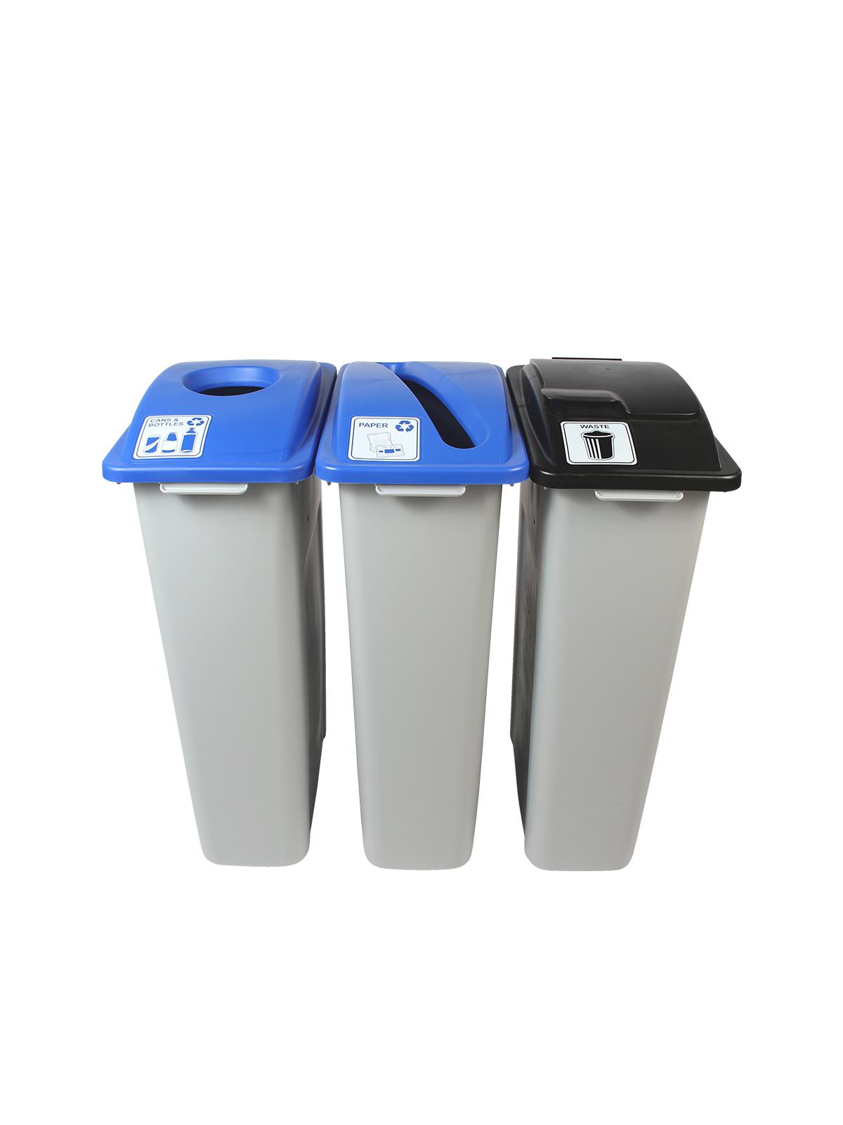 WASTE WATCHER - Triple - Cans & Bottles-Paper-Waste - Circle-Slot-Solid Lift - Grey-Blue-Blue-Black