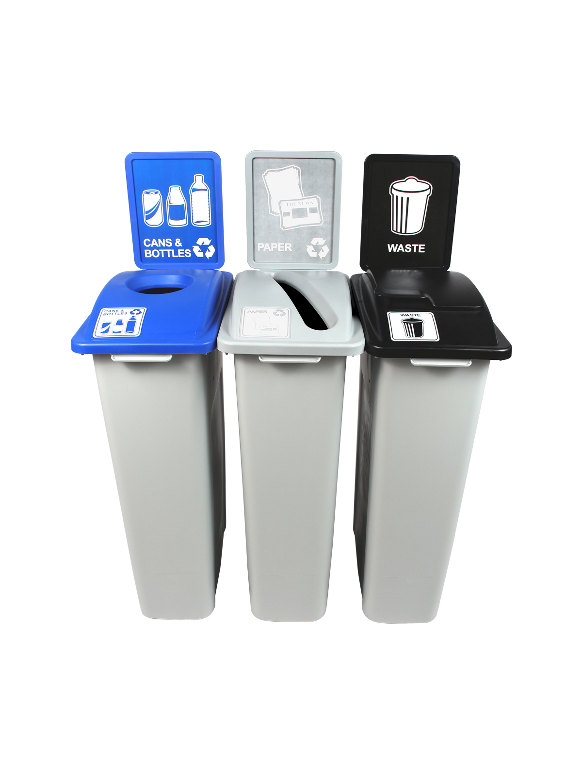 WASTE WATCHER - Triple - Cans & Bottles-Paper-Waste - Circle-Slot-Solid Lift - Grey-Blue-Grey-Black