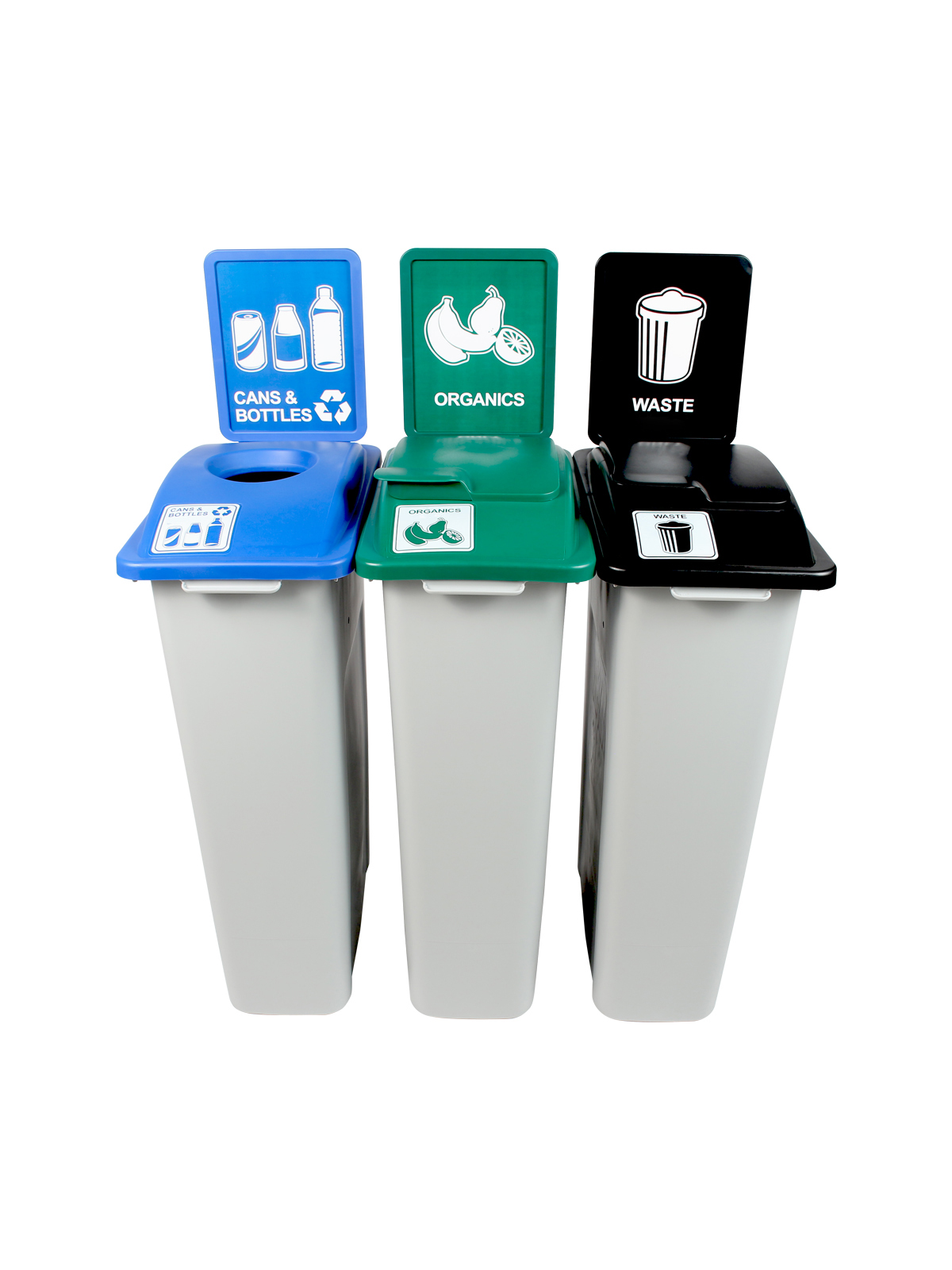 WASTE WATCHER - Triple - Cans & Bottles-Organics-Waste - Circle-Solid Lift-Solid Lift - Grey-Blue-Green-Black