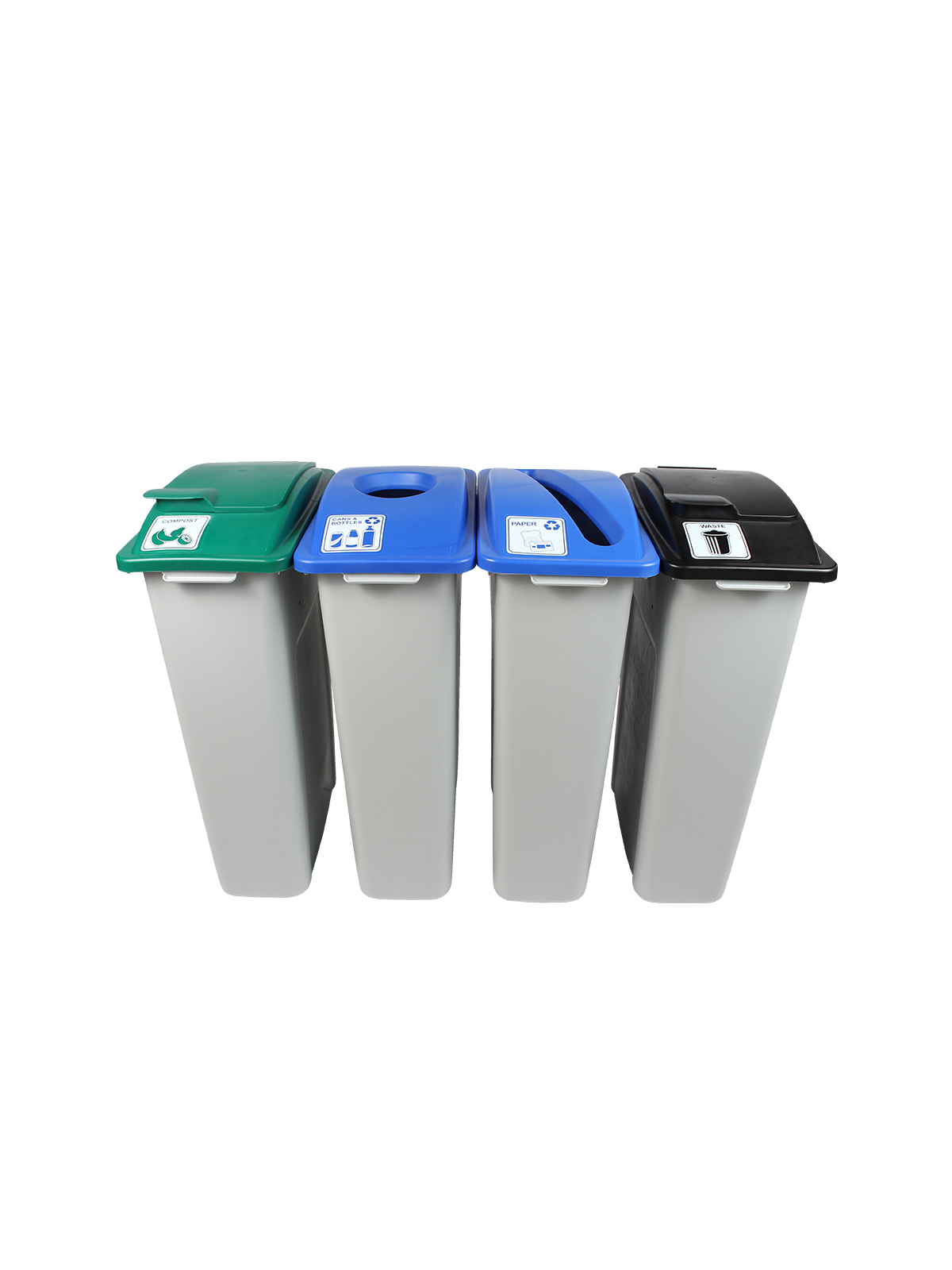 WASTE WATCHER - Quad - Cans & Bottles-Paper-Organics-Waste - Circle-Slot-Solid Lift-Solid Lift - Grey-Blue-Blue-Green-Black