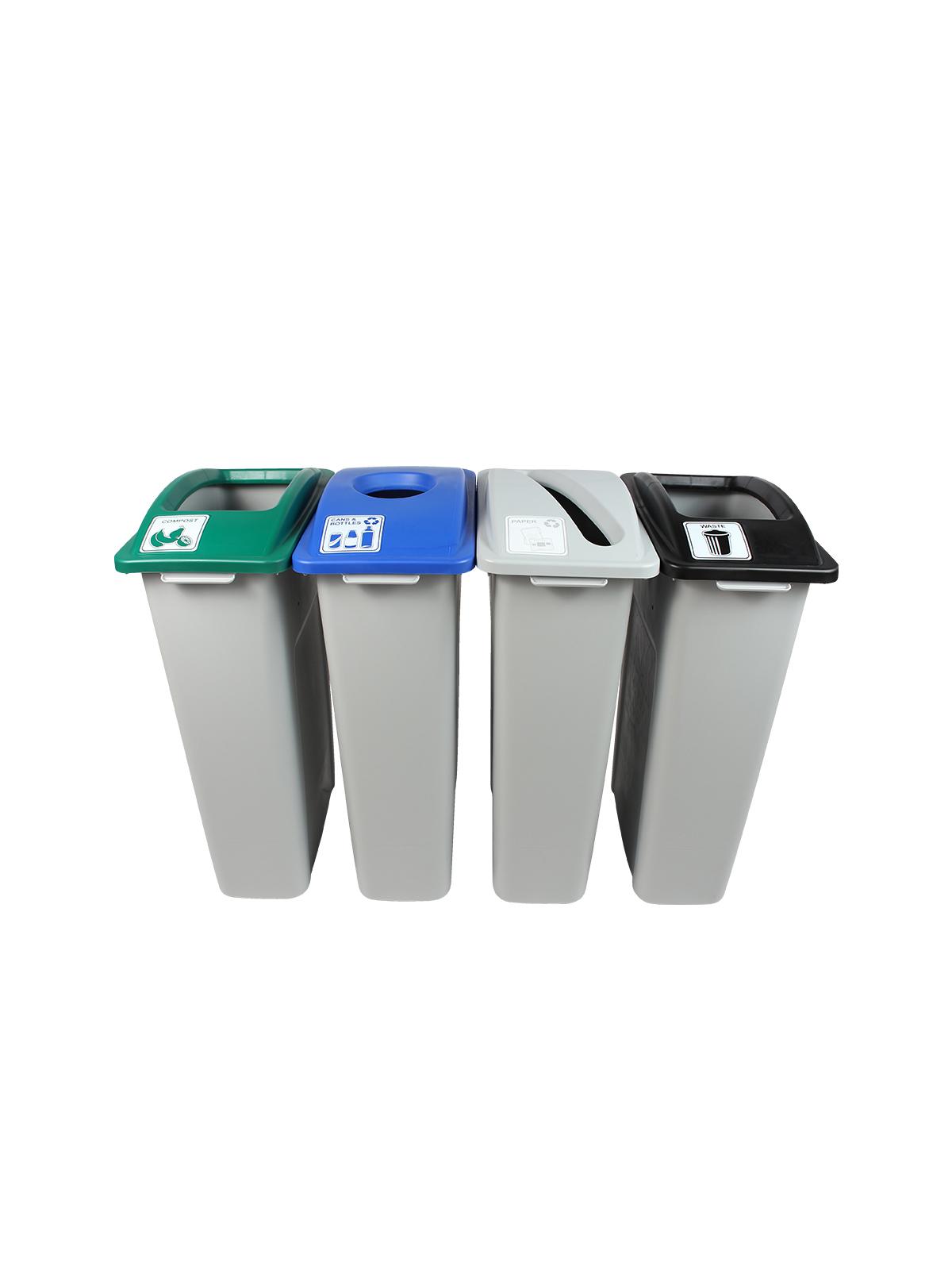 WASTE WATCHER - Quad - Cans & Bottles-Paper-Organics-Waste - Circle-Slot-Full - Grey-Blue-Grey-Green-Black