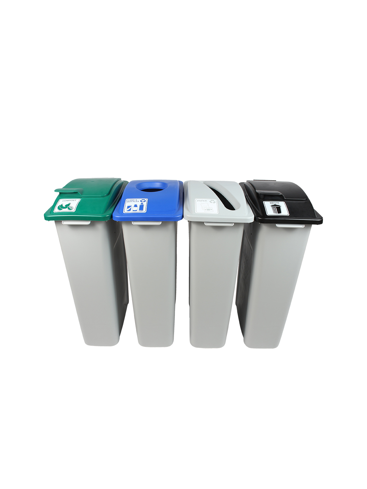 WASTE WATCHER - Quad - Cans & Bottles-Paper-Organics-Waste - Circle-Slot-Solid Lift-Solid Lift - Grey-Blue-Grey-Green-Black