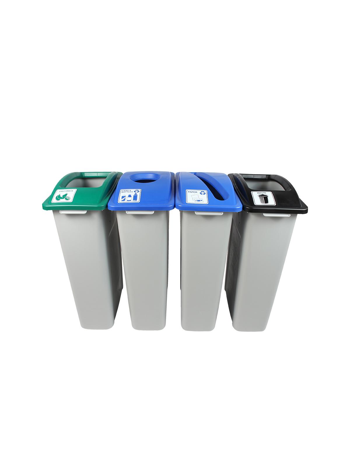 WASTE WATCHER - Quad - Cans & Bottles-Paper-Compost-Waste - Circle-Slot-Full - Grey-Blue-Blue-Green-Black
