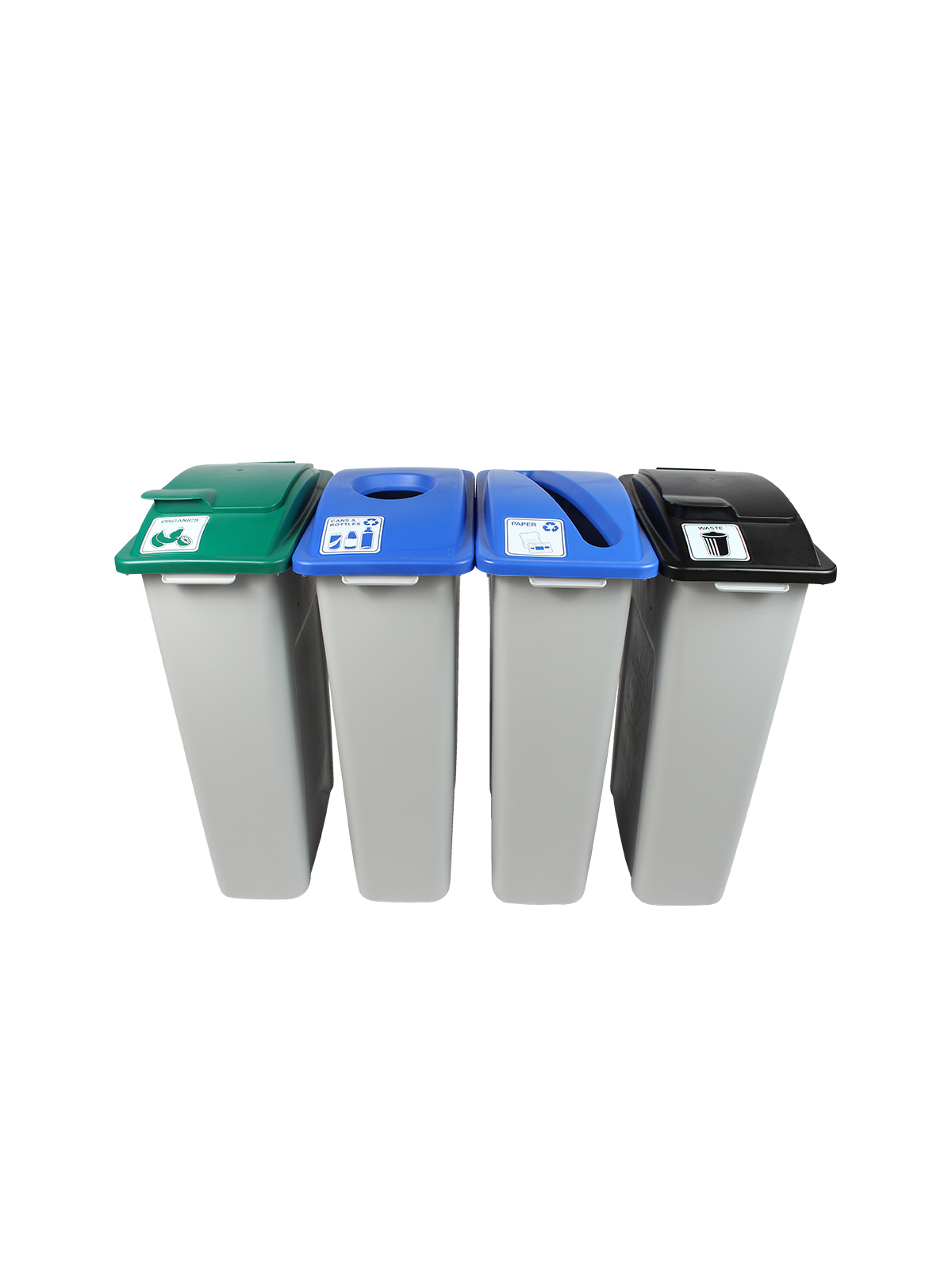 WASTE WATCHER - Quad - Cans & Bottles-Paper-Compost-Waste - Circle-Slot-Solid Lift-Solid Lift - Grey-Blue-Blue-Green-Black