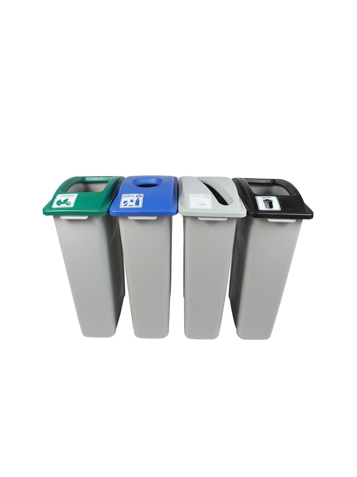 WASTE WATCHER - Quad - Cans & Bottles-Paper-Compost-Waste - Circle-Slot-Full - Grey-Blue-Grey-Green-Black