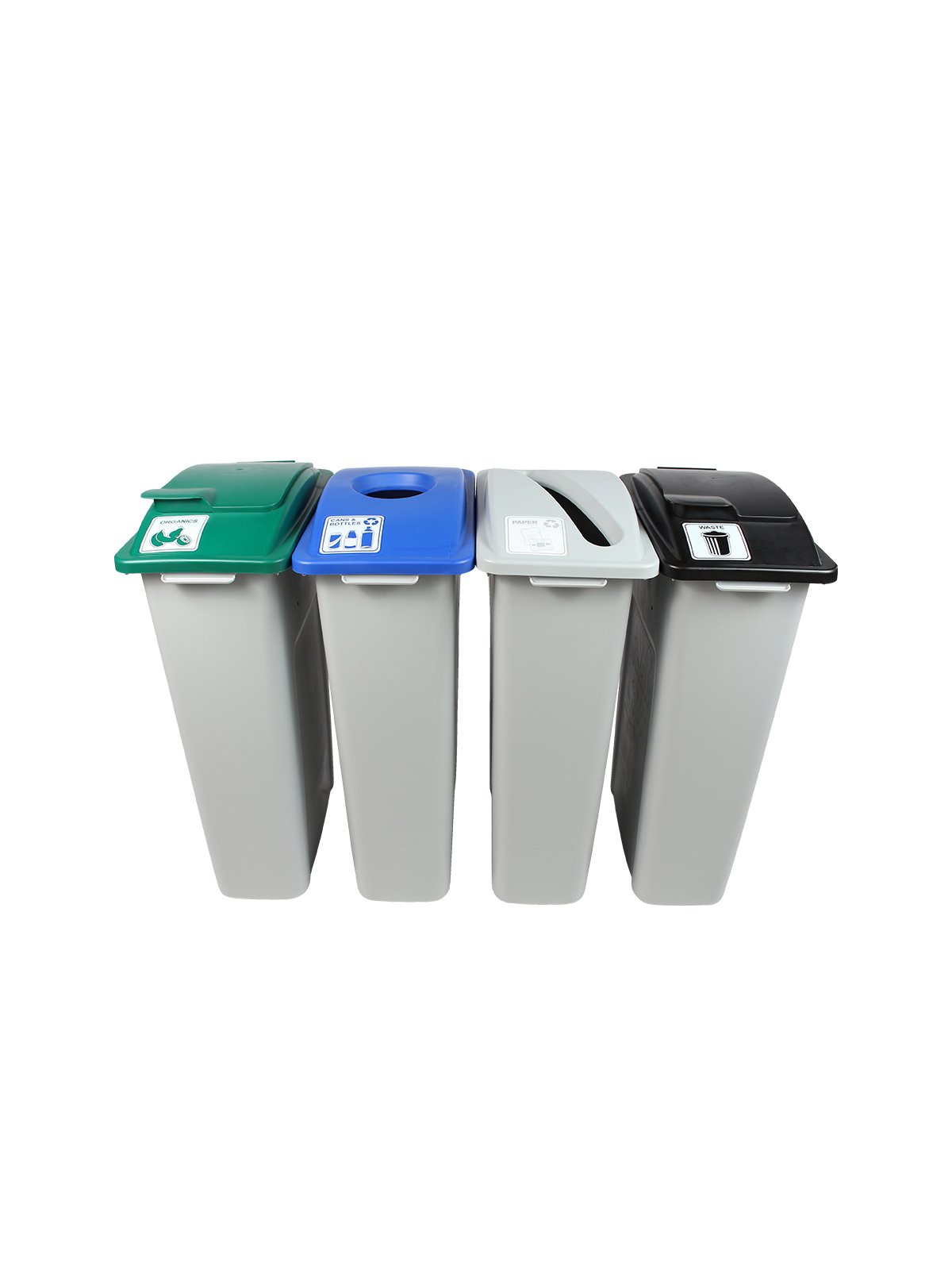 WASTE WATCHER - Quad - Cans & Bottles-Paper-Compost-Waste - Circle-Slot-Solid Lift-Solid Lift - Grey-Blue-Grey-Green-Black