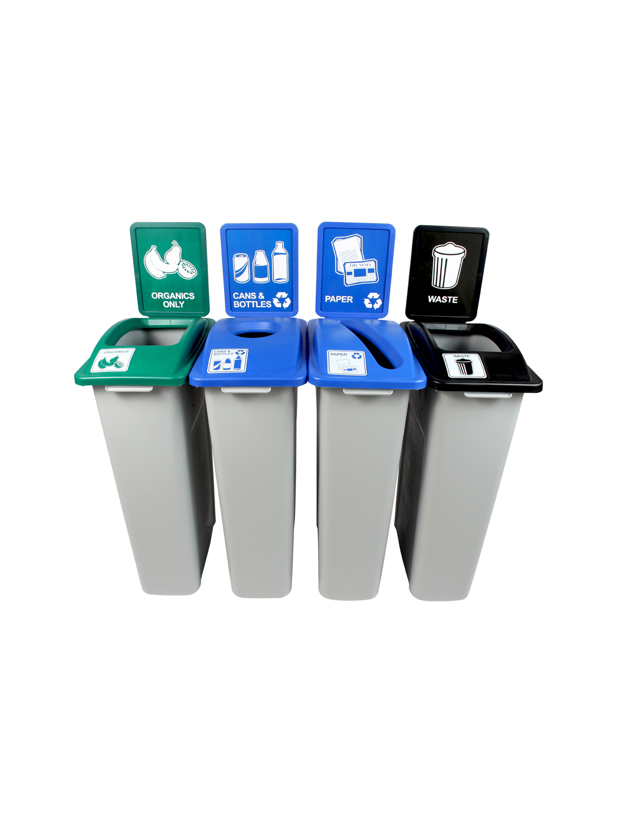 WASTE WATCHER - Quad - Cans & Bottles-Paper-Organics-Waste - Circle-Slot-Full - Grey-Blue-Blue-Green-Black