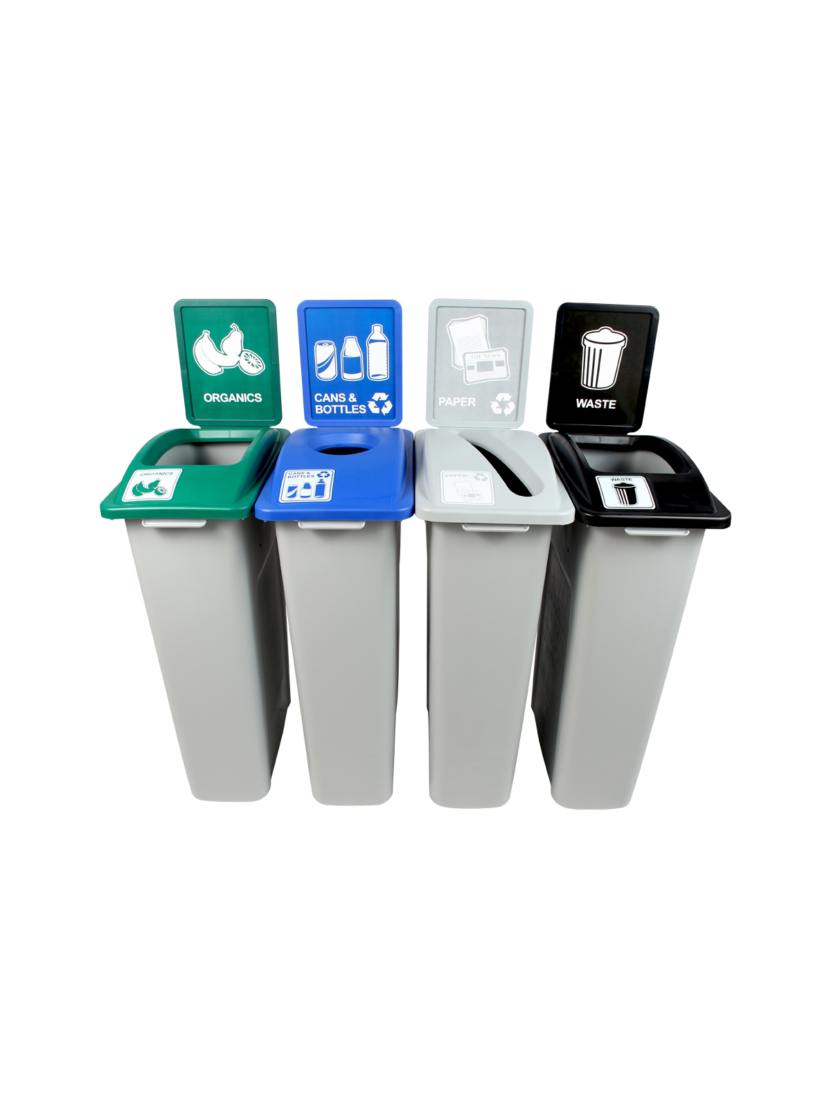WASTE WATCHER - Quad - Cans & Bottles-Paper-Organics-Waste - Circle-Slot-Full - Grey-Blue-Grey-Green-Black