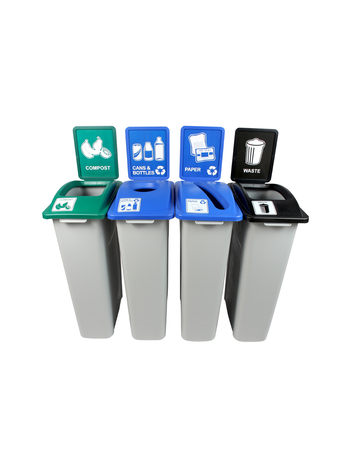 WASTE WATCHER - Quad - Cans & Bottles-Paper-Compost-Waste - Circle-Slot-Full - Grey-Blue-Blue-Green-Black