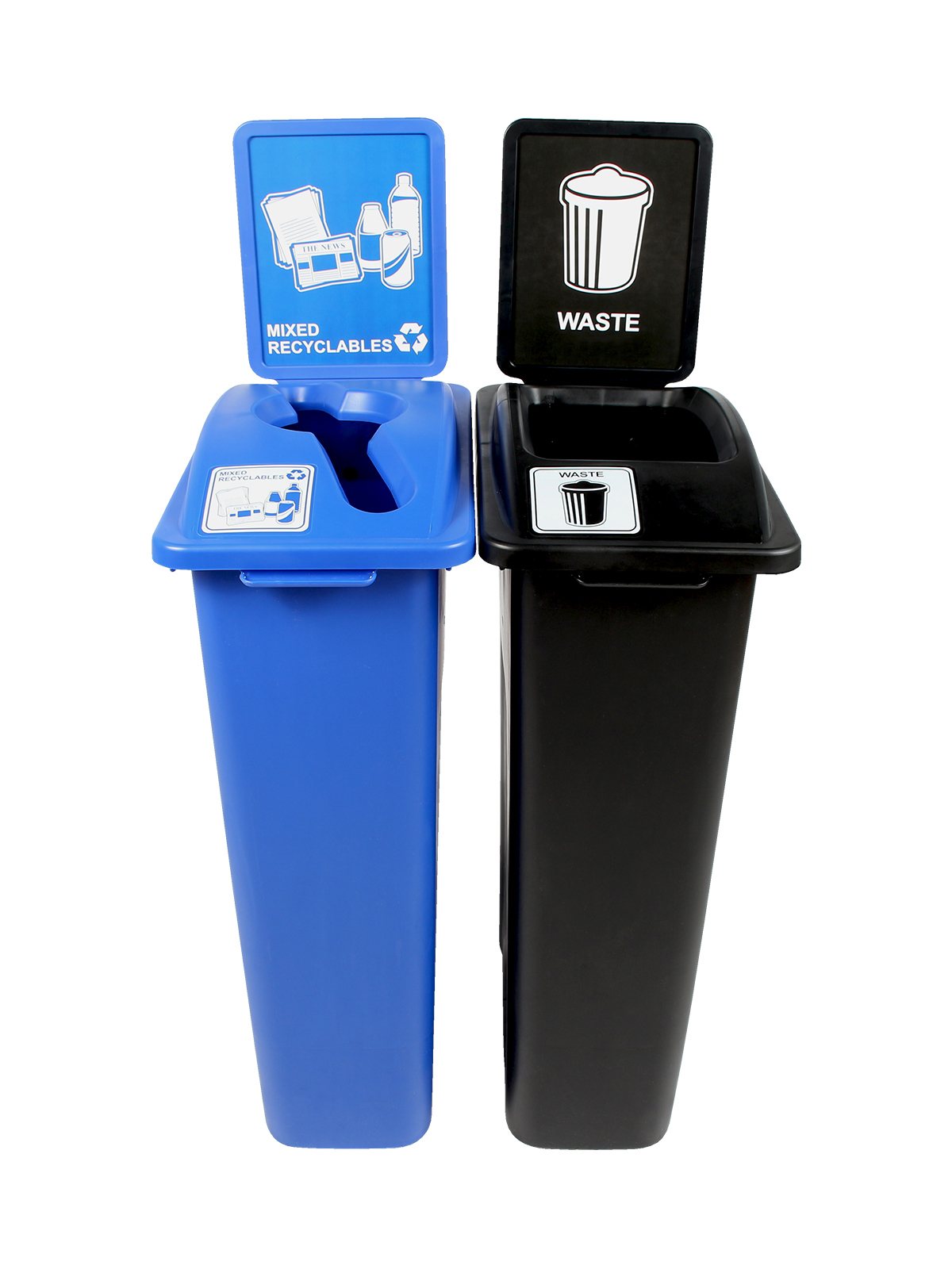 WASTE WATCHER - Double - Mixed Recyclables-Waste - Mixed-Full - Blue-Black