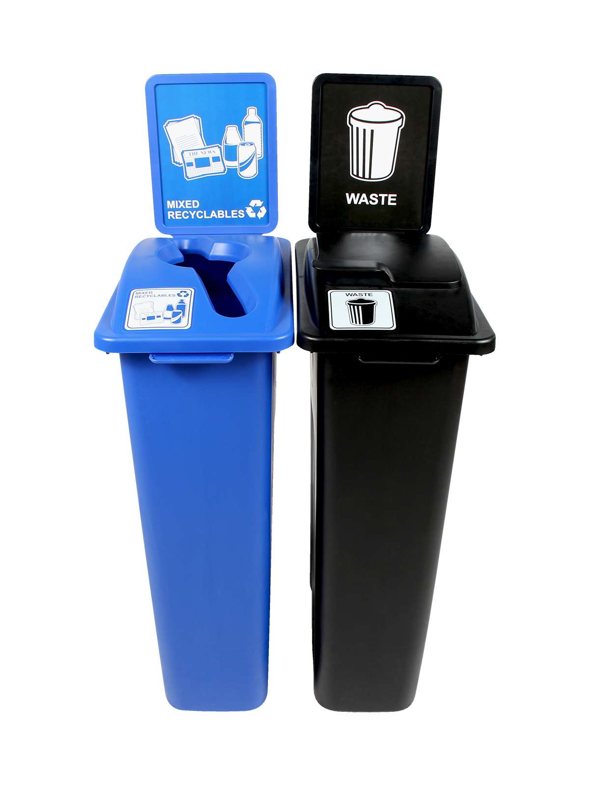 WASTE WATCHER - Double - Mixed Recyclables-Waste - Mixed-Solid Lift - Blue-Black
